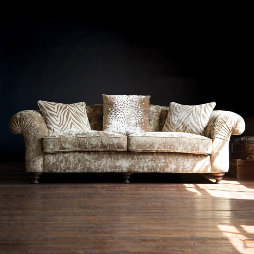 John Sankey Bloomsbury Large Sofa in Borghese Velvet Sand Fabric