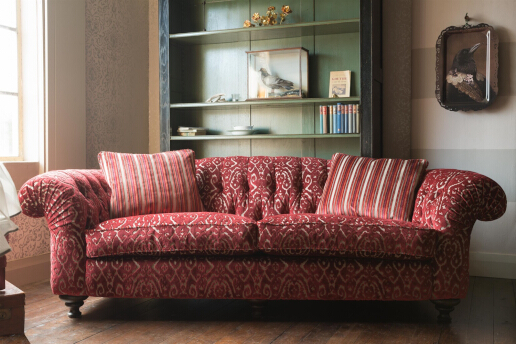 John Sankey Bloomsbury Large Sofa in Florus Cranberry Fabric