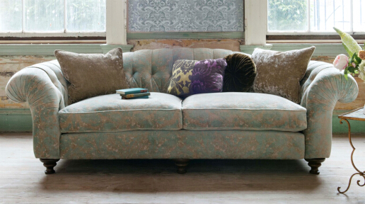 John Sankey Bloomsbury Large Sofa in Tribus Turqioise Fabric
