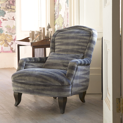 John Sankey Alphonse Chair in Argento Velvet Titanium Fabric with Studding