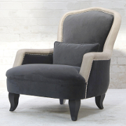 John Sankey Alphonse Chair in Leather and Velvet Fabrics from Kings Interiors - the Ideal Place for Luxury Handmade British Upholstery, Furniture and Flooring, Best Prices in the UK.