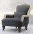 John Sankey Alphonse Chair in Block Velvet Seal Fabric with Horatio Stone Leather Border and Studding