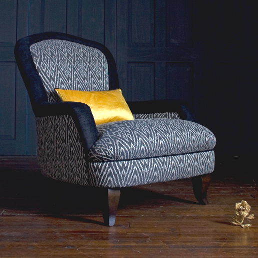John Sankey Alphonse Chair in Customers Own Materials with Contrast Fabric Border