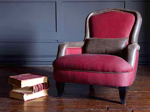 John Sankey Alphonse Chair in Striped Fabric with Contrast Leather Border