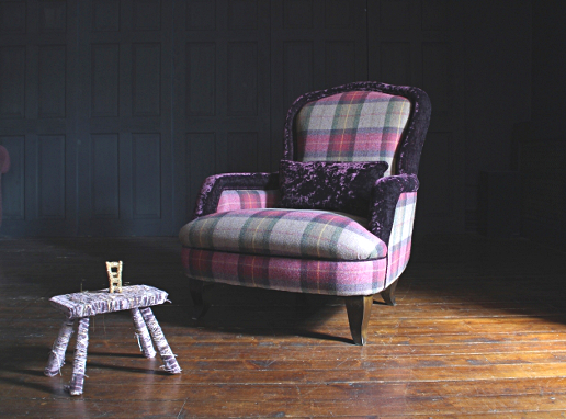 John Sankey Alphonse Chair in Soft Check Damson Hero Fabric with Contrast Velvet Border