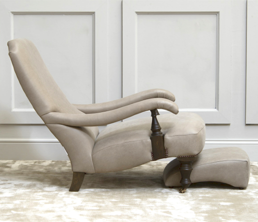 John Sankey Byron Chair with Foot Stool in Horatio Stone Leather