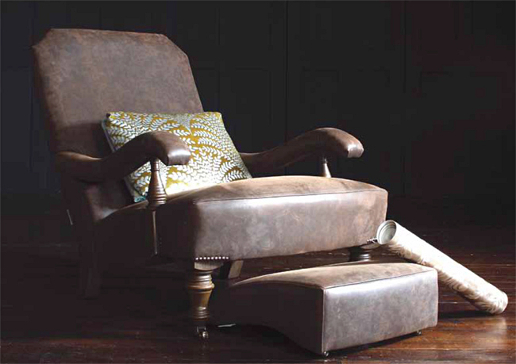John Sankey Byron Chaise Chair and Foot Stool in Full Grain Hawker Peat Leather