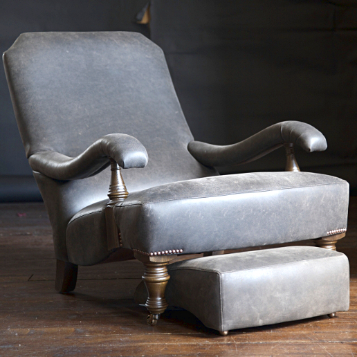 John Sankey Byron Chaise Chair and Foot Stool in Full Grain Ollivander Coffeebean Leather