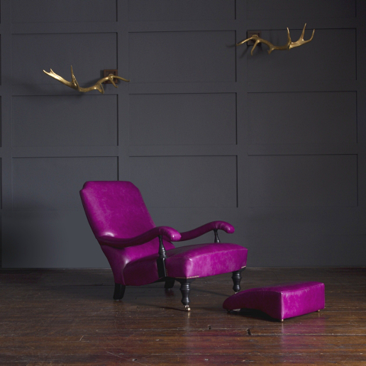 John Sankey Byron Chaise Chair and Footstool in Full Grain Schiparelli Cyclamen Leather