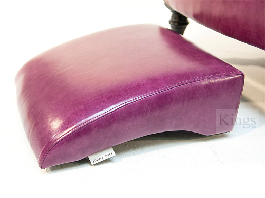 John Sankey Byron Chaise Chair and Footstool in Schiaparelli Cyclamen Leather Stool Details