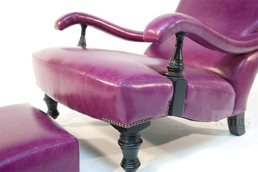 John Sankey Byron Chaise Chair and Footstool in Schiaparelli Cyclamen Leather Details