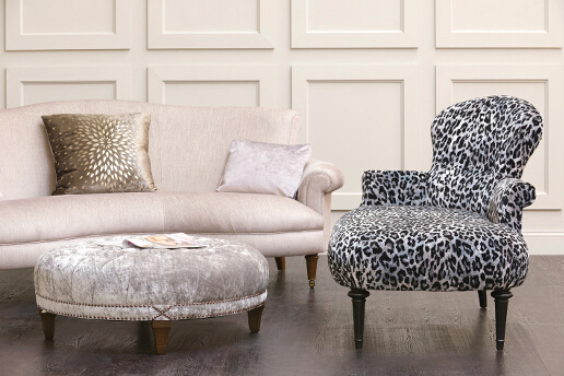 John Sankey Clara Chaise with Matilda Sofa and Boothby Ottoman Roomset