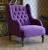 John Sankey Constantine Wing Chair in Tate Velvet Blackberry Fabric