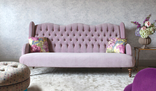 John Sankey Constantine Large Sofa in Tate Velvet Rose Fabric Roomset