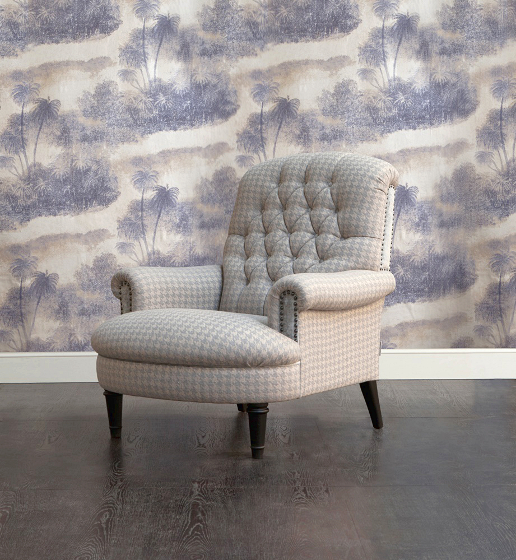 John Sankey Crawford Chair in Houndstooth Dove Fabric with Studding Details