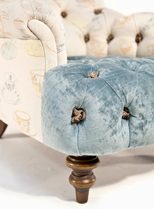 John Sankey Crinoline Chair in Ava Velvet Lagoon and Tea Time Pastel Fabrics Leg Details