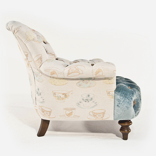 John Sankey Crinoline Chair in Ava Velvet Lagoon and Tea Time Pastel Fabrics Side Details