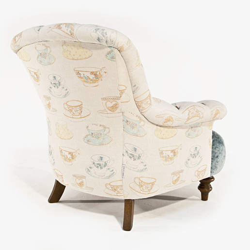 John Sankey Crinoline Chair in Ava Velvet Lagoon and Tea Time Pastel Fabrics Back Details