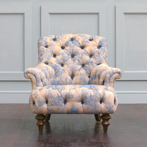 John Sankey Crinoline Chair in Bizet Ink Fabric