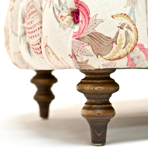 John Sankey Crinoline Chair in Omoko Antique Fabric Leg Details