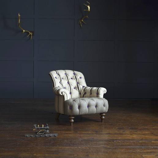 John Sankey Crinoline Chair in Rustic Stripe Chocolate Fabric
