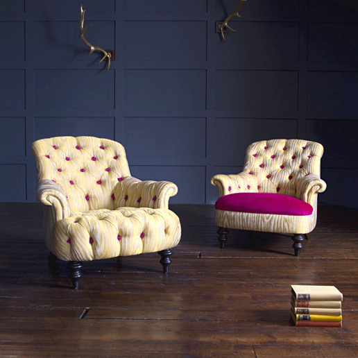 John Sankey Crinoline Chair in Elsa Moire Sunshine Yellow Fabric