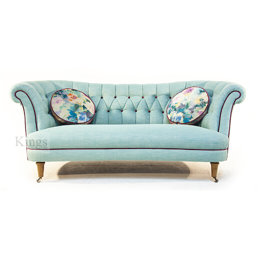 John Sankey Evita Button Back Sofa in Vintage Linen Aqua Fabric with Circular Cushions in Floral Fabric