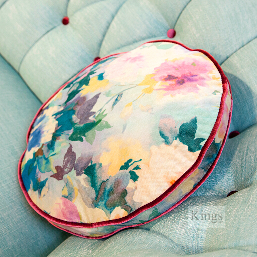 John Sankey Evita Button Back Sofa in Vintage Linen Aqua Fabric Floral Circular Cushions Detail