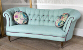 John Sankey Evita Grand Sofa in Vintage Linen Aqua Fabric with Circular Cushions in Floral Fabric