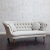 John Sankey Evita Large Sofa in Vintage Linen Lichen Fabric with Circular Scatter Cushions