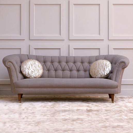 John Sankey Evita King Size Sofa in Sorrento Mist Fabric with Contrast Circular Cushions