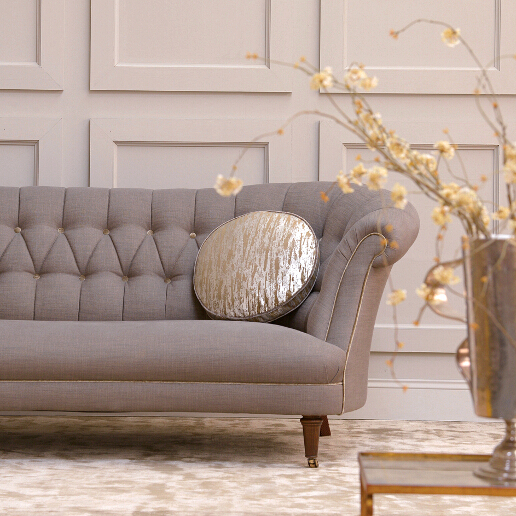 John Sankey Evita Sofa in Sorrento Mist Fabric with Contrast Circular Cushions