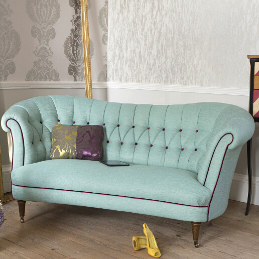John Sankey Evita Large Sofa in Vintage Linen Aqua Fabric with Contrast Piping Roomset