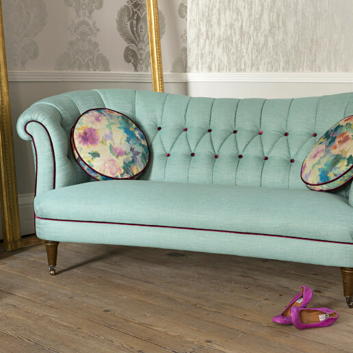 John Sankey Evita Sofa in Vintage Linen Aqua Fabric with Contrast Piping Roomset