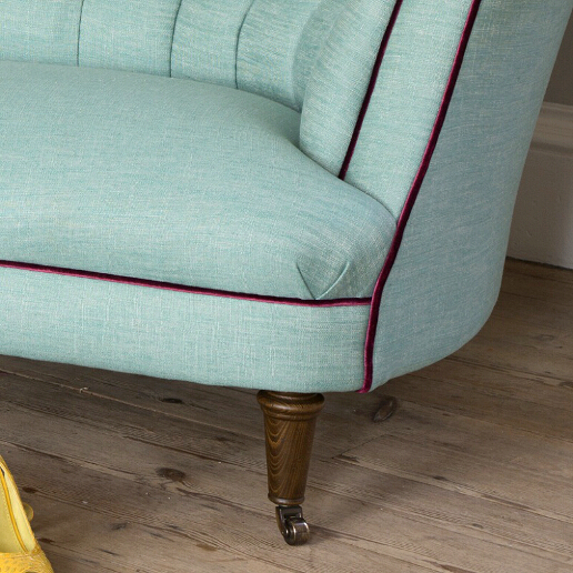 John Sankey Evita Sofa in Vintage Linen Aqua Fabric with Contrast Piping Leg Detail