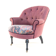 John Sankey Ferdinand Chair in Linen and Floral Velvet