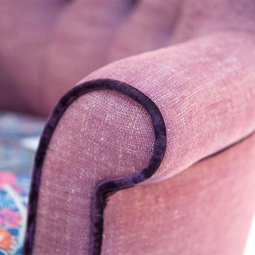 John Sankey Ferdinand Chair in Floral Fabric Arm Details