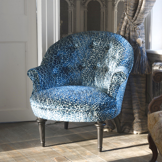 John Sankey Ferdinand Chair in Atlantis Velvet Aqua Fabric