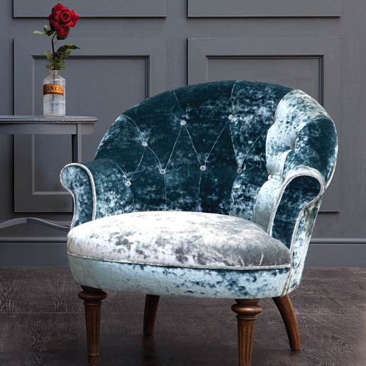 John Sankey Ferdinand Chair in Ava Velvet Cloud and Lagoon Fabrics