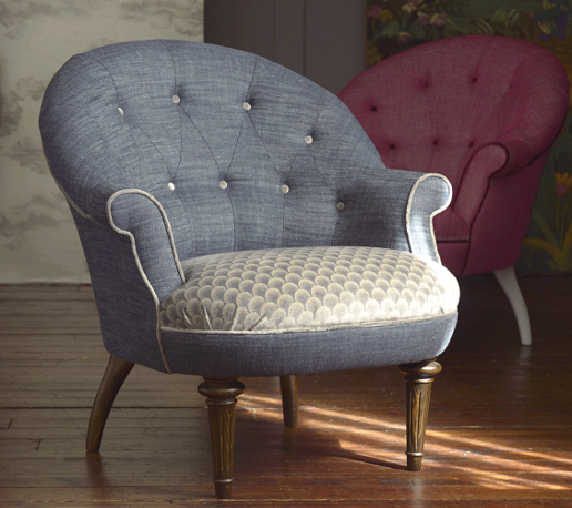 John Sankey Ferdinand Chair in Vintage Linen Denim Fabric