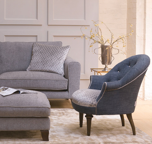 John Sankey Ferdinand Chair in Vintage Linen Denim with Voltaire Sofa and Daybed Ottoman