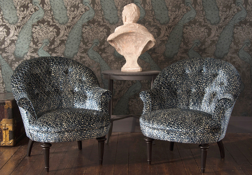 John Sankey Ferdinand Chairs in Atlantis Velvet Aqua Fabric