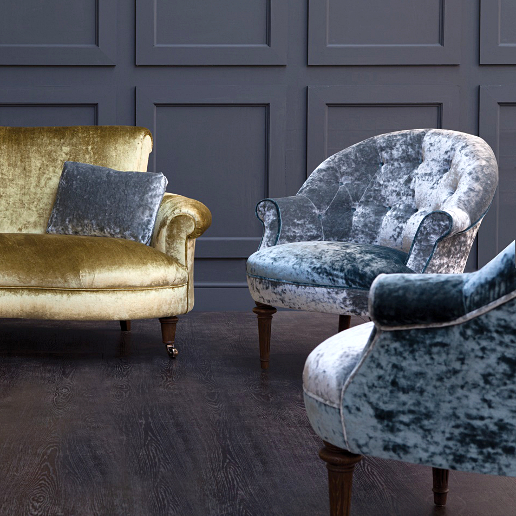 John Sankey Ferdinand Chairs in Ava Velvet Cloud and Lagoon Fabrics with Matilda Sofa