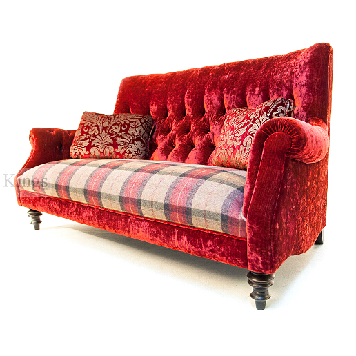 John Sankey Holkham Grand Sofa in Ava Velvet Warm Red Fabric with Soft Check Damson Seat Cushions