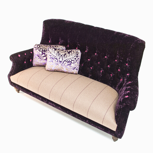 John Sankey Holkham Grand Sofa in Borghese Velvet Crocus Fabric with Wool Plaid Seat Cushions