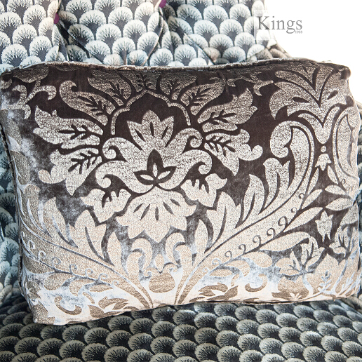 John Sankey Holkham Grand Sofa in Delanty Velvet Silver Fabric with Appledore Pewter Scatter Cushions Detail