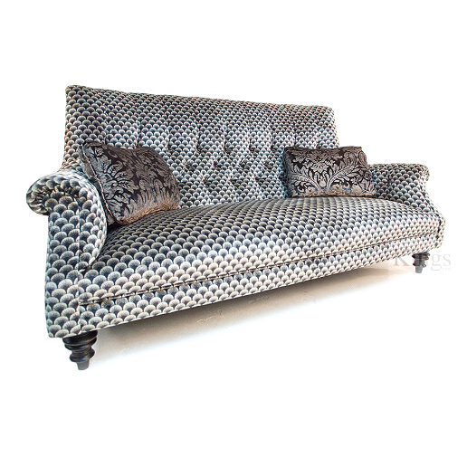 John Sankey Holkham Grand Sofa in Delanty Velvet Silver Fabric with Appledore Pewter Scatter Cushions