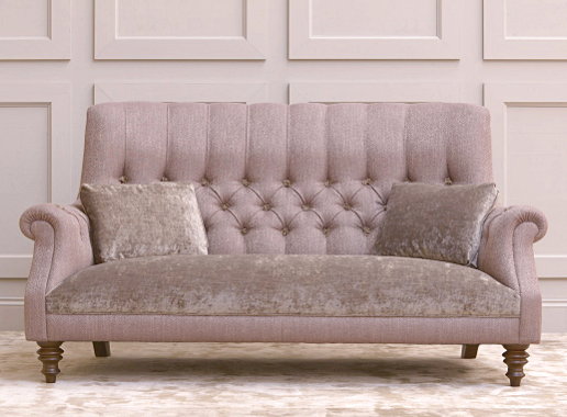 John Sankey Holkham Sofa in Rodin Heather Fabric with Borghese Velvet Seat Cushions