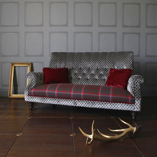 John Sankey Holkham Sofa in Delanty Velvet Silver Fabric with Cello Pimpernel Seat Cushions