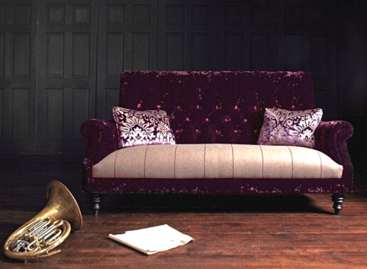 John Sankey Holkham Large Sofa in Du Barry Velvet Blackberry and Wool Plaid Seat Cushions